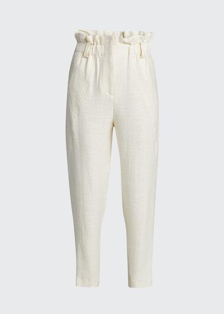 Kaly Linen-Blend Paperbag Pants