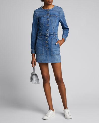 Mini Denim Button-Front Dress