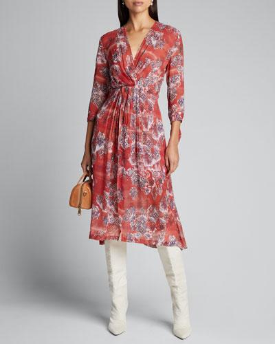 Gramy Printed 3/4-Sleeve Midi Dress