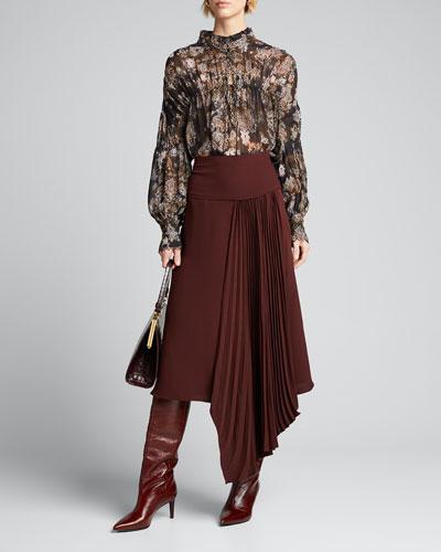 Sianna Printed Long-Sleeve Blouse