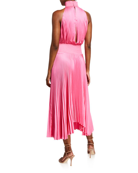Renzo Pleated Halter Midi Dress