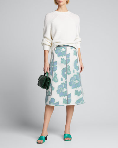 Fil Coupe Abstract Daisy Seamed Skirt