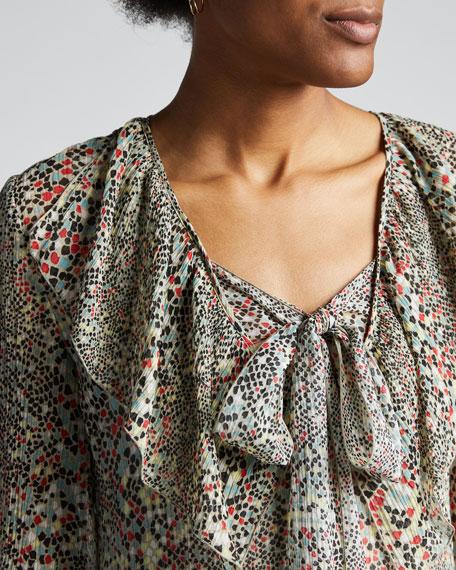 Printed Tie-Neck 3/4-Sleeve Midi Ruffle Dress