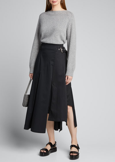 Belted High-Low Twill Utility Skirt