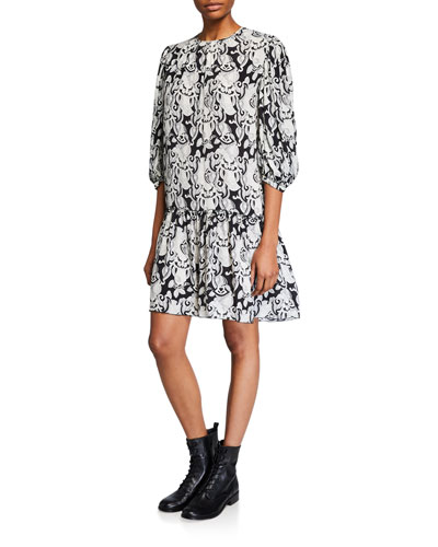 Printed Quarter-Sleeve Drop-Waist Shift Dress