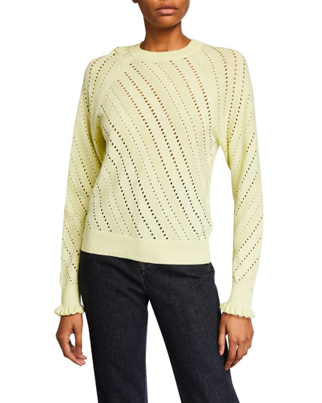 Image 1 of 1: Crewneck Pointelle Pullover Sweater