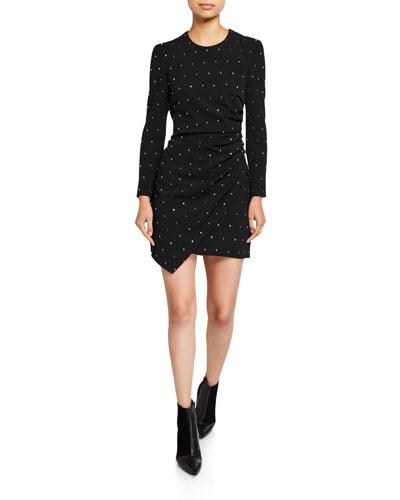 Lana Embellished Long-Sleeve Mini Dress