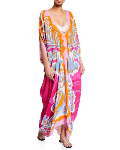 Printed Button-Front Kaftan