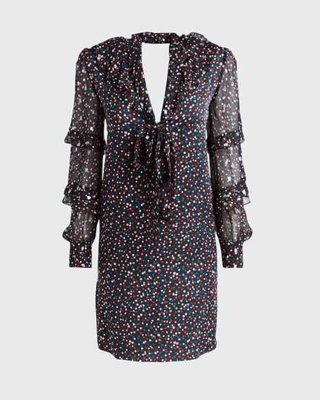 Amalie Printed Tie-Neck Ruffle Dress