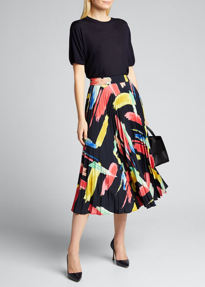 Modern Brushstroke Pleated Twill Skirt