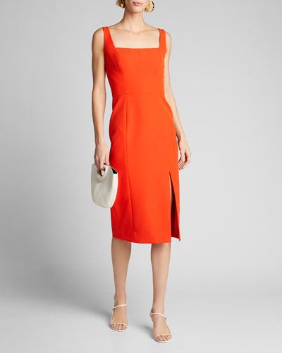 Rita Square-Neck Sleeveless Cady Dress