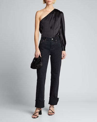 Relaxed One-Shoulder Satin Top
