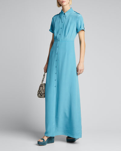 Georgia Point-Collar Long Shirt Dress