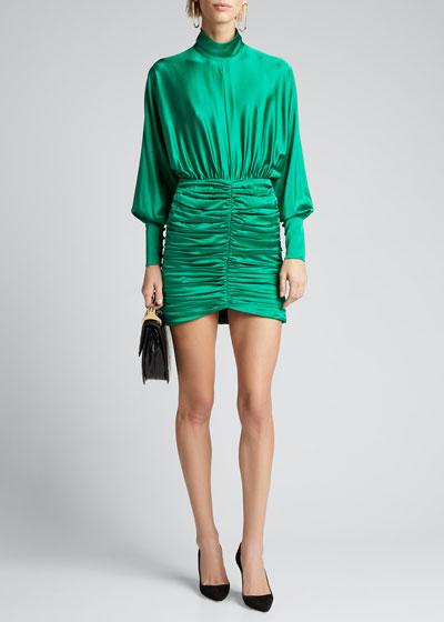 Barbara Ruched Satin High-Neck Dress