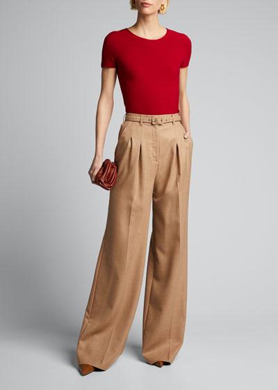Scoop-Neck Short-Sleeve Tee  Red