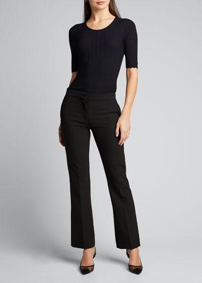 Wavy Knit 1/2-Sleeve Tee  Black
