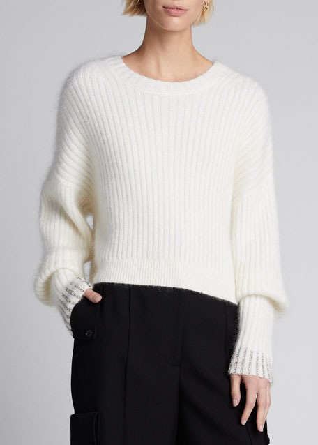 Embellished-Cuff Pullover Sweater