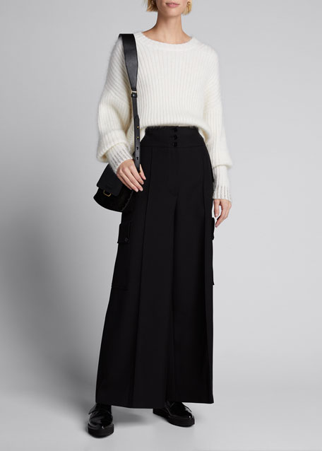 Image 1 of 1: Embellished-Cuff Pullover Sweater