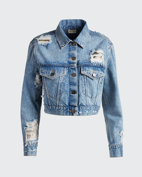 Distressed Boyfriend Crop Jacket w/ Chainmail