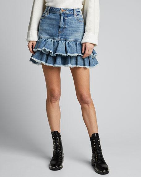 Good High-Rise Ruffle-Hem Skirt