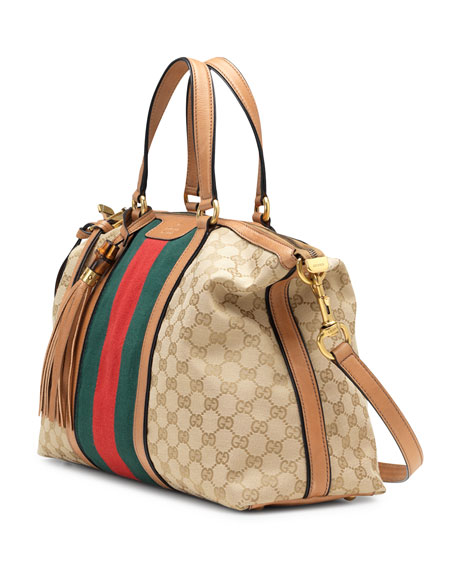 0c63e2f81ae0fb Gucci Rania Canvas Top Handle Bag, Classic Khaki
