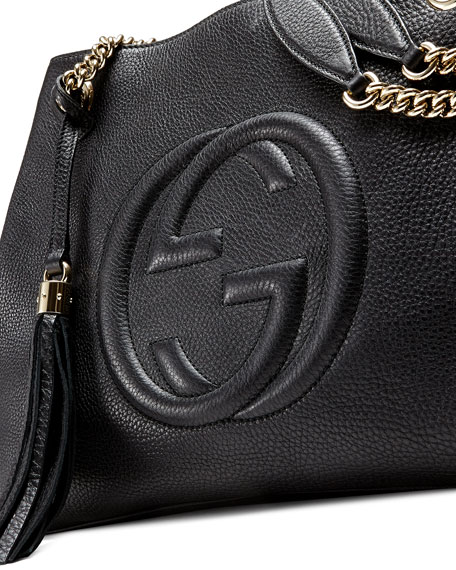 70bdbcf87f8f Gucci Soho Leather Chain-Strap Tote, Black