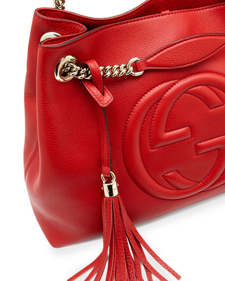 55fdedc0113 Gucci Soho Leather Medium Chain-Strap Tote