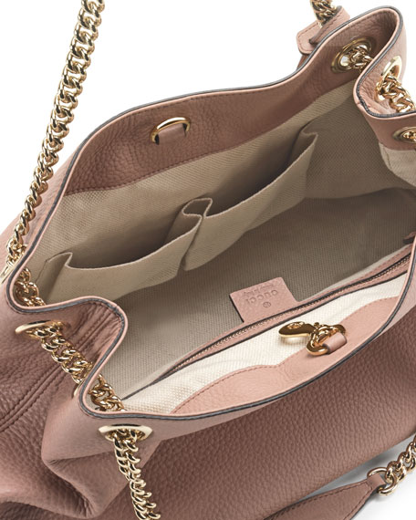 Soho Leather  Chain-Strap Tote, Nude