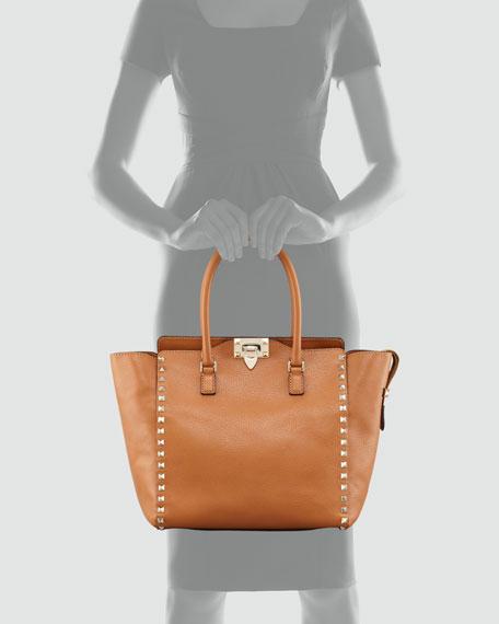 Rockstud Double Handle Tote Bag, Beige