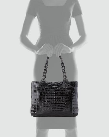 Crocodile Chain-Strap Tote Bag, Black