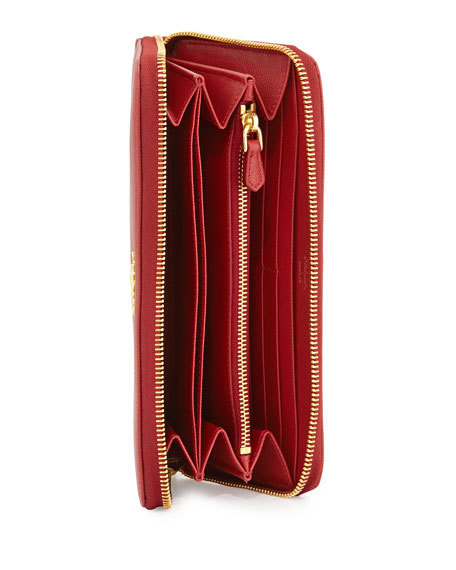 Saffiano Zip-Around Wallet, Red (Fuoco)