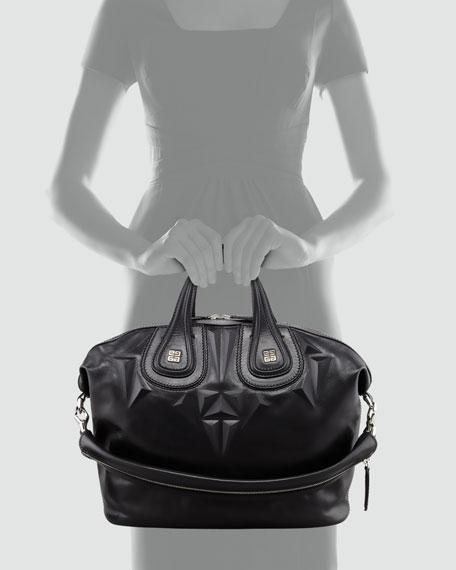 Nightingale 3D Stud Medium Satchel Bag, Black
