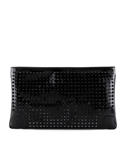 Loubiposh Studded Clutch Bag, Black