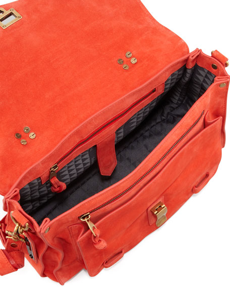 PS1 Medium Suede Satchel Bag, Orange