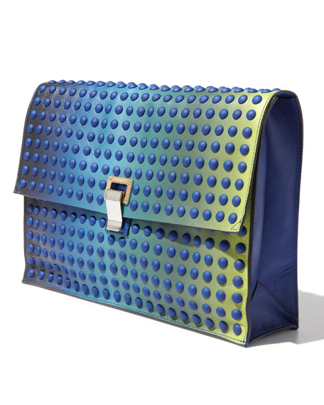 Large Studded Ombre Lunch Bag Clutch, Blue/Green