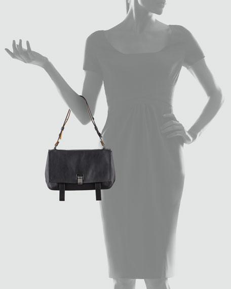 PS Courier Leather Satchel Bag, Blue/Black