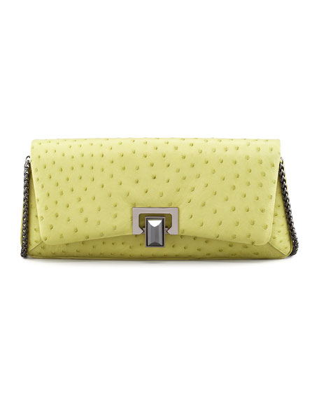Honora Ostrich Shoulder Bag, Green/Yellow