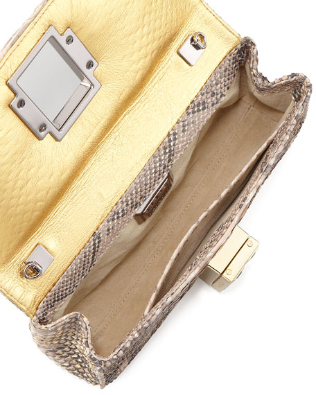 Brevis Large Python Clutch Bag, Gold