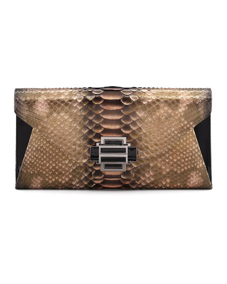 Electra Medium Python Clutch Bag, Gold