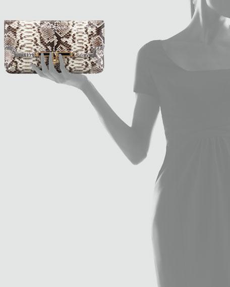 Mia East/West Python Clutch Bag