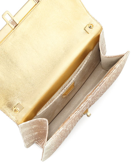Priscilla Lizard Clutch Bag, Golden