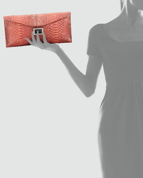 Prunella Super Stretch Python Clutch Bag, Red