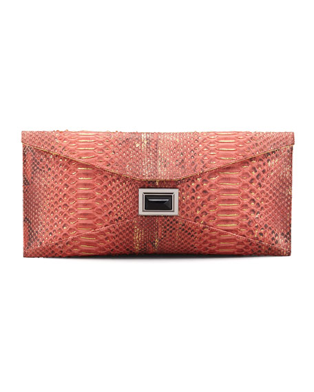 Prunella Super Stretch Python Clutch Bag, Red