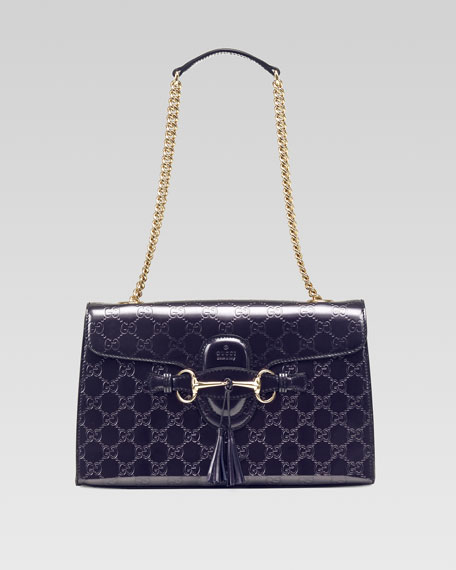 Emily Shine Guccissima Leather Chain Shoulder Bag, Purple