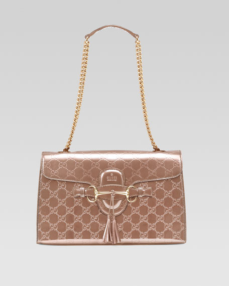 6565ac525021 Gucci Emily Shine Guccissima Leather Chain Shoulder Bag