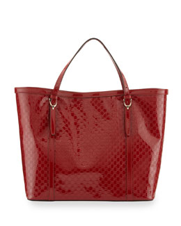Gucci Gucci Nice Microguccissima Patent Leather Tote, Red