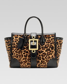Gucci Lady Buckle Jaguar Print Top Handle Bag, Black