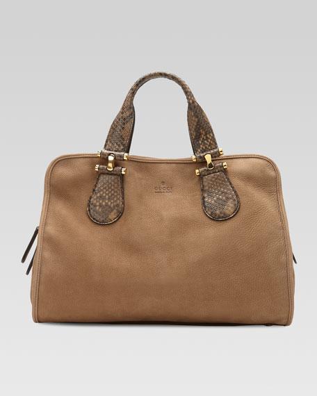 Twice Suede and Python Top Handle Bag, Tan