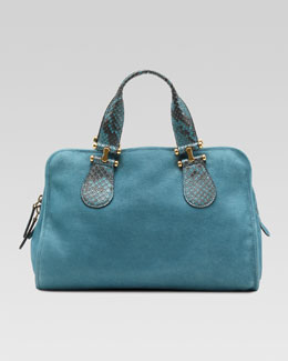 Gucci Twice Suede and Python Top Handle Bag, Blue
