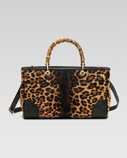 Gucci Bamboo Shopper Jaguar Print Tote, Multicolor